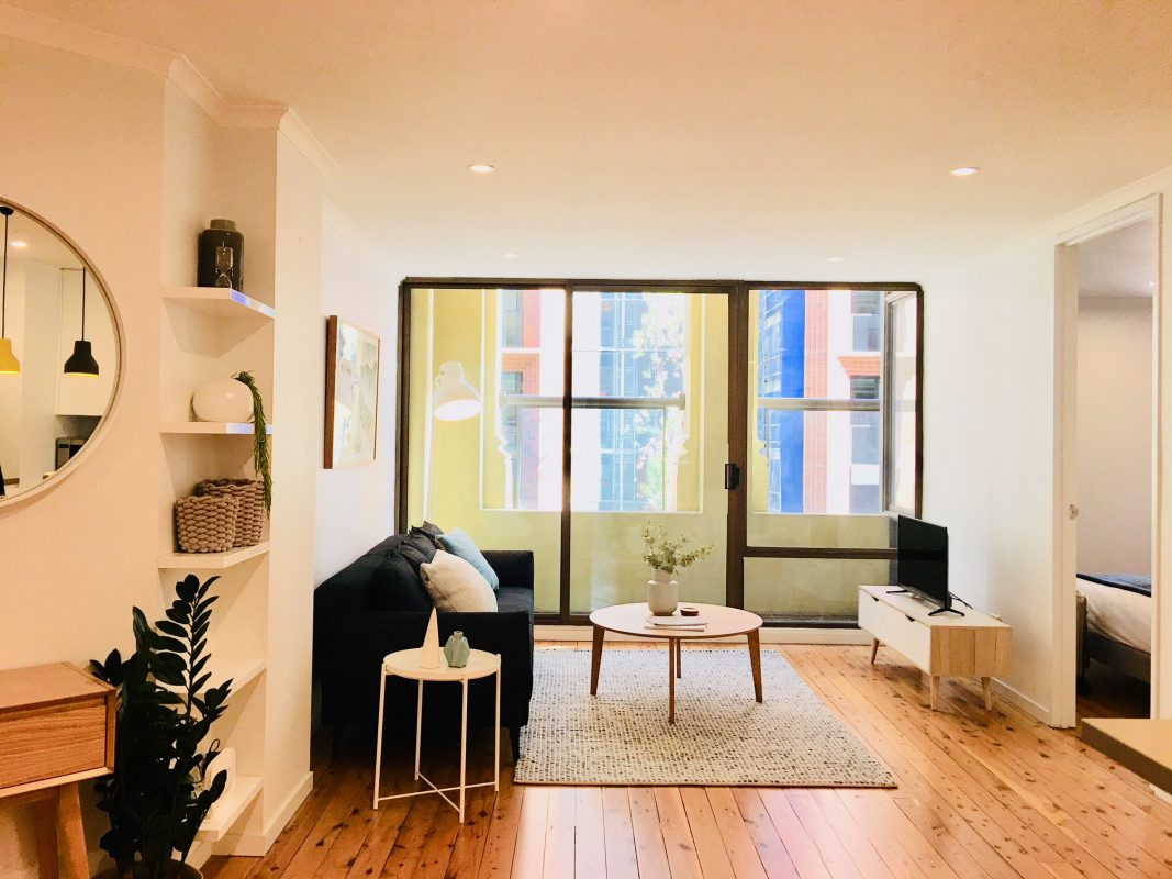 Living room and balcony, Clarence St, Sydney CBD
